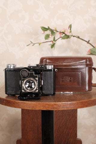 Superb! 1937 Zeiss-Ikon Super Nettel (236/24)  with Original Leather Case, CLA'd, Freshly Serviced! - Zeiss-Ikon- Petrakla Classic Cameras