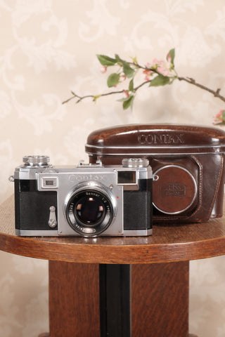 1952 Zeiss Ikon Contax IIa with Lens and Original Leather Case, Freshly serviced, CLA'd