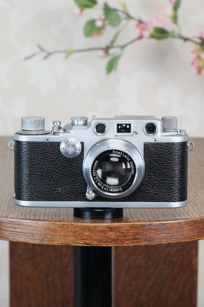 "1942 LEITZ LEICA IIIc ""stepper"", Desirable WWII model with red shutter curtains, CLA'd, Freshly Serviced! - Leitz- Petrakla Classic Cameras"