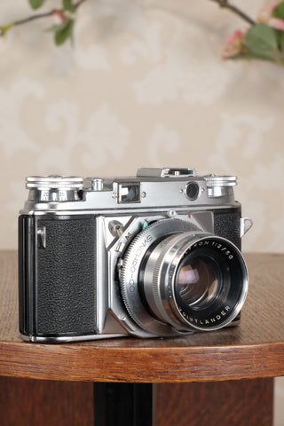 SUPERB!  Freshly Serviced VOIGTLANDER PROMINENT, 35mm Rangefinder Camera with Ultron lens  CLA'd - Petrakla Classic Cameras