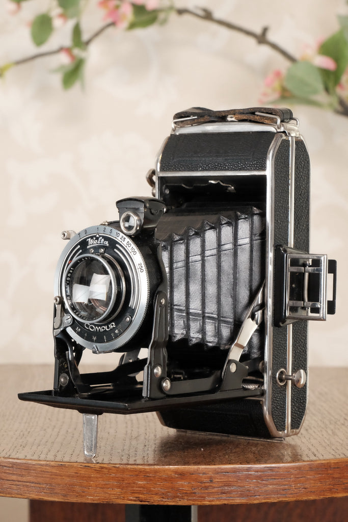Superb! 1937 Welta Trio 6x9 / 6x4.5 Medium Format Folder, original (and rare) reduction mask, Freshly Serviced, CLA'd! - Zeiss-Ikon- Petrakla Classic Cameras