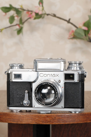 1937 Zeiss Ikon Contax, 35mm coupled rangefinder, with Sonnar lens, CLA'd, Freshly Serviced! - Petrakla Classic Cameras