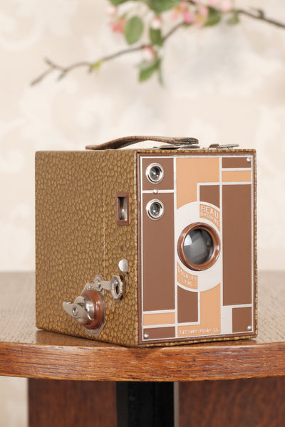 Superb! 1932 Art Deco Beau Brownie with its desirable original matching case, CLA'd, Freshly Serviced! - Petrakla Classic Cameras