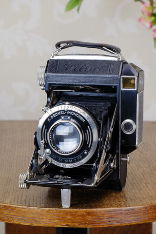 1936 Rare Black Welta Weltur 6x4.5 Coupled Rangefinder Camera, Freshly Serviced!