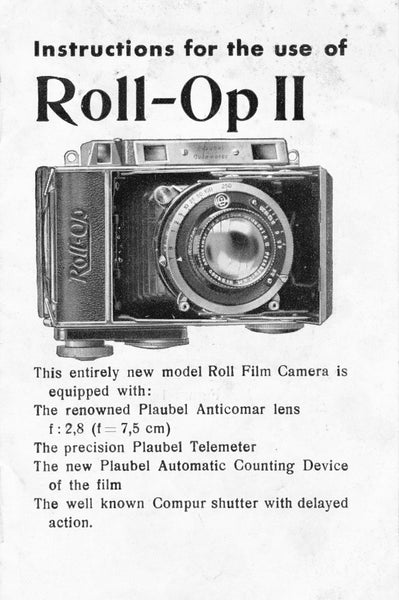 Instructions for use Roll-Op II (original) Rare, Free Shipping! - Plaubel- Petrakla Classic Cameras