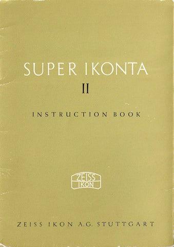 Super Ikonta II Instruction book (Stuttgart). PDF DOWNLOAD! - Zeiss-Ikon- Petrakla Classic Cameras