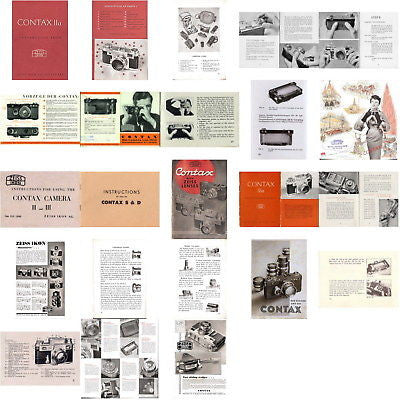 9 SUPERB Zeiss Ikon Contax I II III IIa IIIa manuals and much more, PDFs DOWNLOAD!