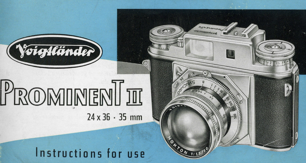 Voigtlander Prominent II, instructions for use,  PDF DOWNLOAD! - Voigtlander- Petrakla Classic Cameras