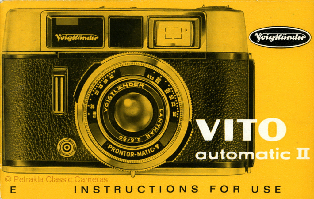 Voigtlander Vito Automatic II, Instructions for use. PDF DOWNLOAD! - Voigtlander- Petrakla Classic Cameras