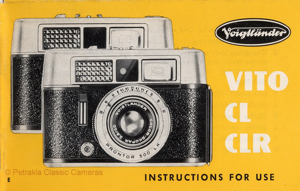 Voigtlander Vito CL CLR, Instructions for use. PDF DOWNLOAD! - Voigtlander- Petrakla Classic Cameras