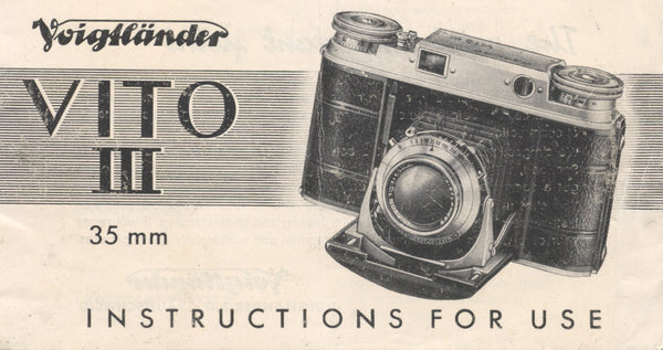 Voigtlander Vito III 35mm Instruction book (original). Free Shipping! - Voigtlander- Petrakla Classic Cameras