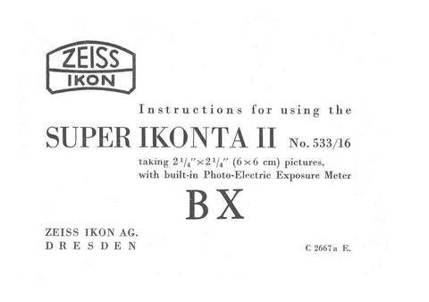 Super Ikonta II (533/16 BX), PDF DOWNLOAD!