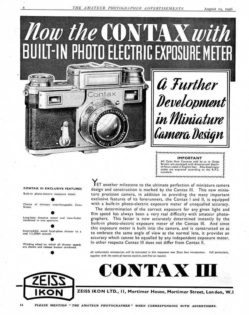 Contax ad: Now the Contax with.... - Zeiss-Ikon- Petrakla Classic Cameras