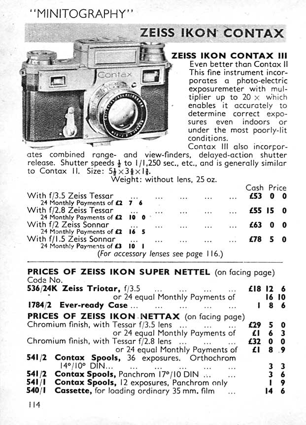 Contax ad: Minitography Contax III... - Zeiss-Ikon- Petrakla Classic Cameras