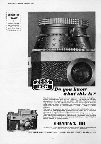Contax ad: Do you know what this is....Contax III... - Zeiss-Ikon- Petrakla Classic Cameras