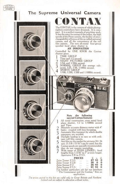 Contax ad: The Supreme Universal Camera - Zeiss-Ikon- Petrakla Classic Cameras