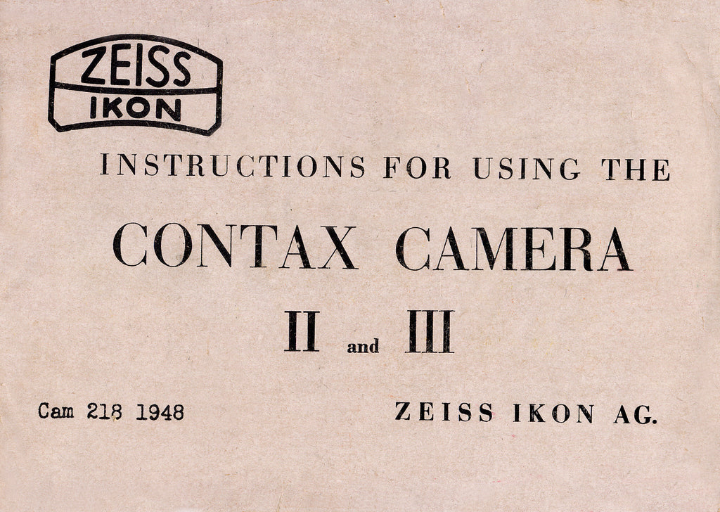 Instructions for Contax II and III English 1948, PDF DOWNLOAD! - Zeiss-Ikon- Petrakla Classic Cameras