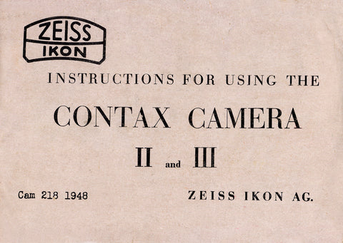 Instructions for Contax II and III English 1948, PDF DOWNLOAD! - Petrakla Classic Cameras