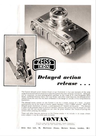 Contax ad: Delayed action release... - Zeiss-Ikon- Petrakla Classic Cameras