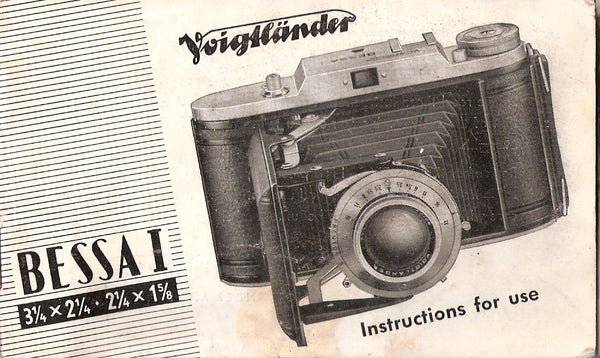 Voigtlander Bessa I Instruction book (original). Free Shipping!