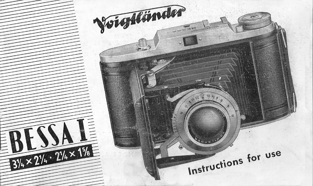 Voigtlander Bessa I Instruction book. PDF DOWNLOAD!