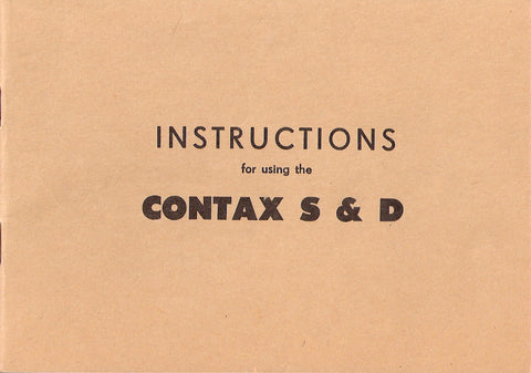 Instructions for using the Contax S & D, English, PDF DOWNLOAD!