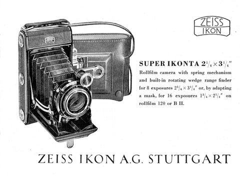 Super Ikonta 21/4 x 3 1/4 Rollfilm camera....Instruction book (Stuttgart). PDF DOWNLOAD! - Zeiss-Ikon- Petrakla Classic Cameras