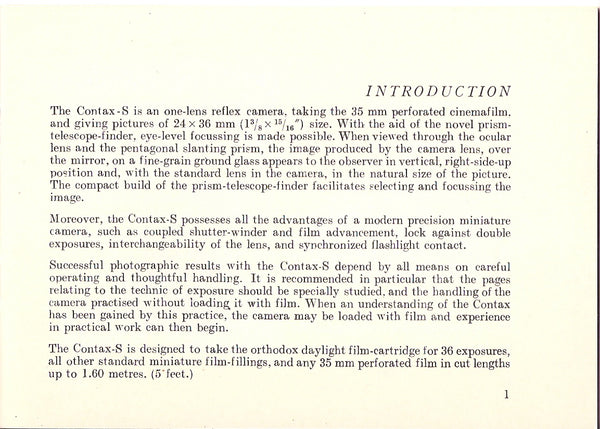 Instructions for using the Contax S & D, English, PDF DOWNLOAD! - Zeiss-Ikon- Petrakla Classic Cameras