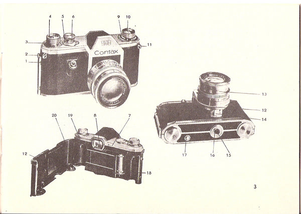 Instructions for using the Contax S & D, English, (original) Free Shipping! - Zeiss-Ikon- Petrakla Classic Cameras