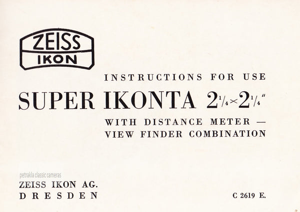Super Ikonta B Instructions for use. PDF DOWNLOAD! - Zeiss-Ikon- Petrakla Classic Cameras