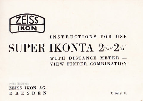 Super Ikonta B Instructions for use. PDF DOWNLOAD!