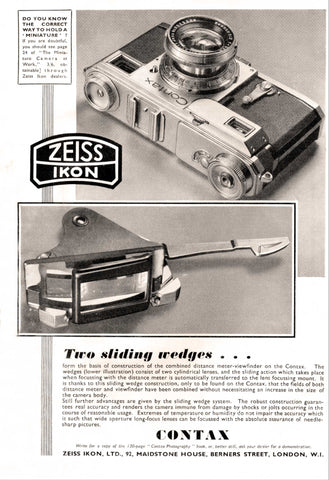 Contax ad: Two sliding wedges - Zeiss-Ikon- Petrakla Classic Cameras
