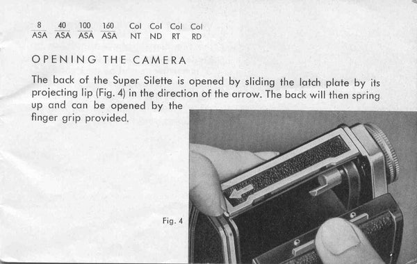 Agfa Super Silette, instructions for use. - Agfa- Petrakla Classic Cameras