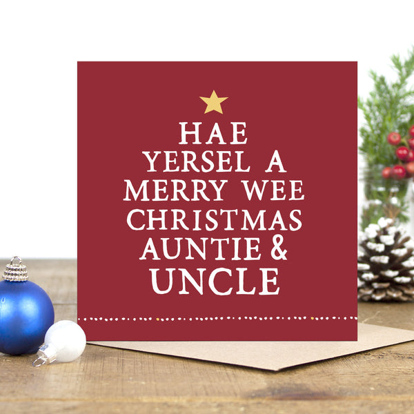 'Hae A Merry Wee Christmas' Auntie & Uncle Card