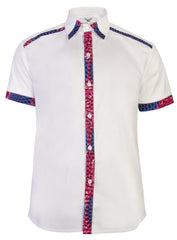 Asante short sleeve African print shirt-White Nsubra - OHEMA OHENE AFRICAN INSPIRED FASHION  - 1