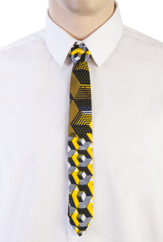 African Print Skinny Tie-Labyrinth