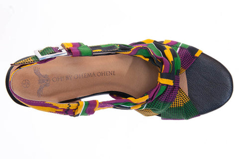 Ladies Kente Print Wedge shoes