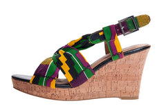 Ladies Kente Print Wedge shoes - OHEMA OHENE AFRICAN INSPIRED FASHION  - 1