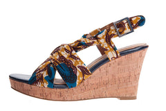 Ladies African print wedge shoes-Afua Evergreen - OHEMA OHENE AFRICAN INSPIRED FASHION  - 1