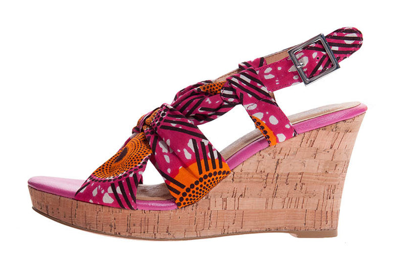 African Print sandal shoe wedge