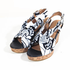 Ladies African Print Wedge shoes-Afua Shell - - OHEMA OHENE AFRICAN INSPIRED FASHION  - 1
