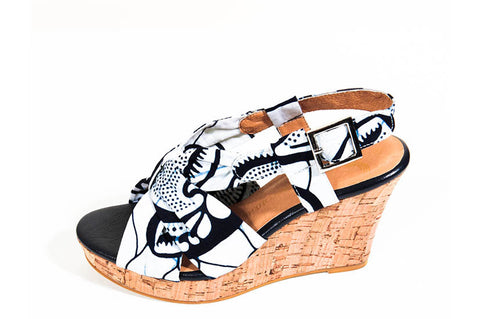 Ladies African Print Wedge shoes-Afua Shell -