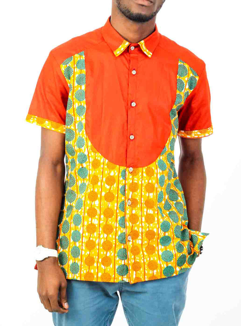 Short Sleeve African print shirt-Spot - OHEMA OHENE AFRICAN INSPIRED FASHION  - 1