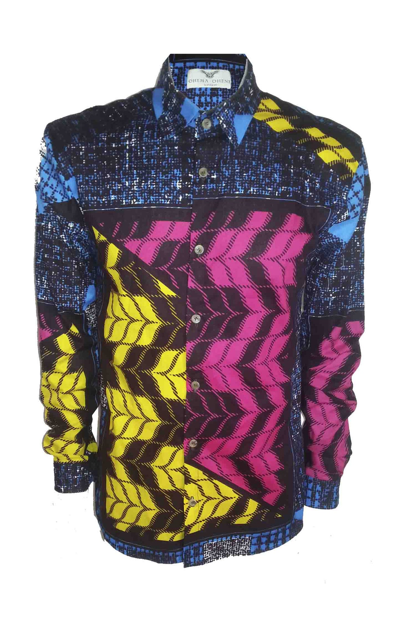 Men's Long sleeve African print shirt- 'Afrigingham' - OHEMA OHENE AFRICAN INSPIRED FASHION  - 1