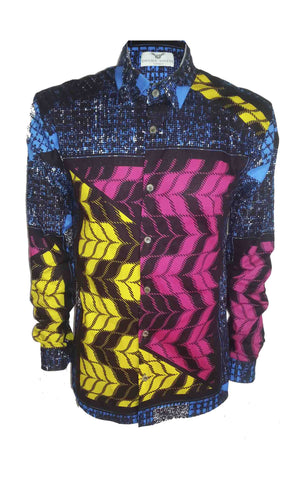 Men's Long sleeve African print shirt- 'Afrigingham'