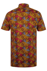 Men's SS African print shirt-Crossways