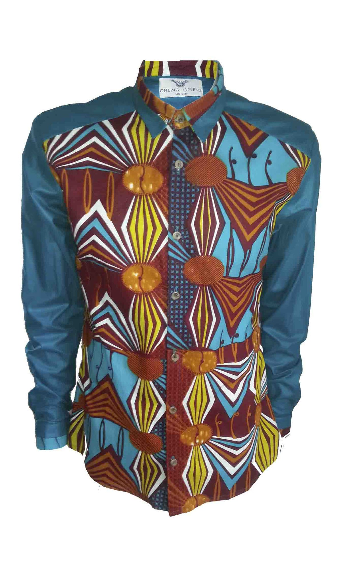 Front print block Men's African print shirt - OHEMA OHENE AFRICAN INSPIRED FASHION  - 1