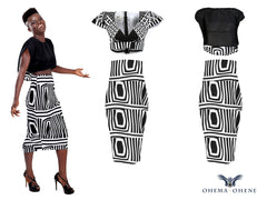 Black & White Joelle chiffon crop top - OHEMA OHENE AFRICAN INSPIRED FASHION  - 3