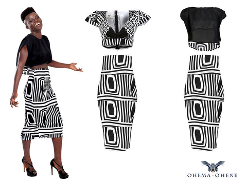 Obayaa-High waist midi skirt