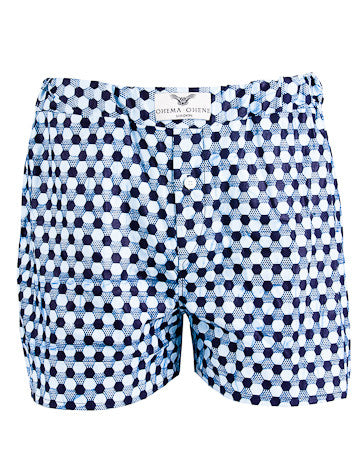 Men's African Print Boxer Shorts- Blue Lagoon